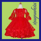 UKMD39 Red Flower Girls Christmas Party Pageant Dress 9-18M,1,2,3,4,5,6,7,8Yrs