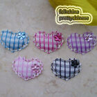 Mixed Gingham Heart Lace Appliques Padded Craft Sewing Scrapbooking Trim New