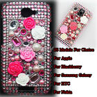 Pink 5 Rose Diamond Bling Crystal Hard Back Case Cover For Mobile Cell phone