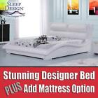 Stunning White Italian Designer Faux Leather Bed With Add Mattress option