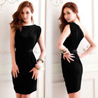 Sexy Womens Asymmetric One Shoulder Mini Dress Solid Cocktail Party Draped Tunic