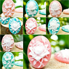 Brandnew 4pcs Resin FLOWER oval Cabochons flatback wholesale vintage style cameo