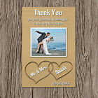 Beach/Heart Sand Photo Personalised Wedding Thank You Cards. 4 Verses Landscape