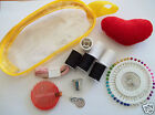 HANDY SEWING KIT IN PLASTIC POUCH PINS TAPE MEASURE NEEDLES COTTON THREADER