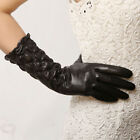 Classic ltalian leather Ruched elbow length long evening dress gloves NWT