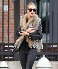 Low Price Real Rabbit Fur Knitted Vest & Raccoon Collar Women Autumn Winter