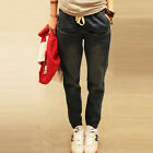 Women's Elasticated Ankle Drawstring Elastic Waist Baggy Denim Pants Harem Jeans