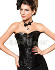 New Gothic Satin  Black Pattern Frill Trim Corset Basque Goth Punk Emo Halloween