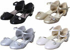 GIRLS KIDS INFANT BRIDESMAID WEDDING PARTY SANDAL SHOES WT DIAMANTE BOW & BUCKLE