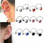 2Pcs U Body Crystal Rhinestone Nose Ear Lip Ring Cuff Hoop Clip on Earring Stud