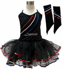 Black Sequins Girls Costume Dance Dress Ballet Leotard Tutu Skirt Gloves Age 1-9