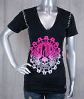 AFFLICTION women's T-shirt GRADED skull gear black hot pink lava wash AW6535