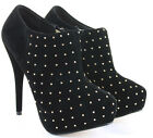 Womens Heeled Zip Booties High Heels Stiletto Shoes Platform Ankle Boots Size