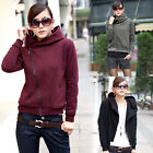 New Womens Oblique Zips Short Sweatshirt Ladies Hoodie Jacket Coat UK Size 8-16