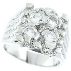 Four Simulated Diamond Silver Rhodium EP Mens Ring