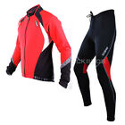Sobike Cycling Suits Fleece Winter Jacket-Aurora & Fleece Tights-Cruise (Red)
