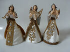 Gisela Graham Angel with White/Gold Velvet Dress Xmas Decoration 18cms (3 asst)