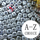 Silver Square Alphabet Letter Acrylic Plastic 6mm Beads A-Z 43C9308