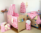 Baby Girl/TEDDY BEAR/ KITTY -5pc NURSERY BABY COT SET- Pillow/Quilt/Cases/Bumper
