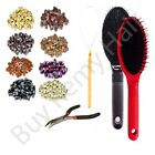 Hair Extension Loop Brush Kit + 100pcs 5mm Silicone Rings