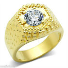 2.8ct Clear Round CZ Stone Gold EP Mens Ring New