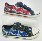 Clarks Stompo Go Infants Boys Blue & Red Fabric Doodles