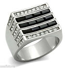 Three Row Jet Black Stones Silve Stainless Steel Mens Ring