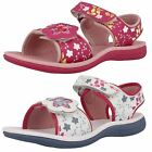 GIRLS CLARKS LEATHER/ TEXTILE SPORTY VELCRO SUMMER SANDAL TANDY QUEEN 2 COLOURS