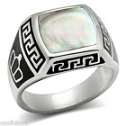 Conch Gray Stone King Crown Silver Stainless Steel Mens Ring
