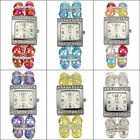 Ladies Bead Band Rhinestone Crystal Bracelet Bangle Quartz Wrist Watch Xmas Gift