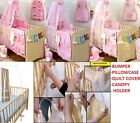 Baby Girl Pink 5pc NURSER BABY COT SET CANOPY+HOLDER/BUMPER/PILLOW QUILT CASE