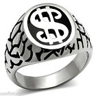 Cash Money Dollar Logo Silver Stainless Steel Mens Ring