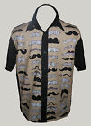 C-unique Mens Black Moustache rockabilly 50s lounge diner s s shirt Steampunk