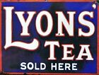 VINTAGE STYLE RETRO METAL PLAQUE Lyons' Tea sold Here  Sales Sign  Ad