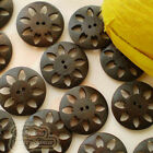 Brown Carved Floral 2 Hole 20mm Wood Buttons Sewing Scrapbooking Craft C003