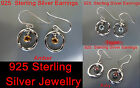 925 Sterling Silver, natural stone, dangle earrings (Topaz/Ruby/Amber) NWT