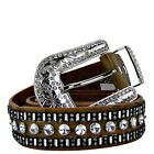BROWN BLACK LEATHER WESTERN RHINESTONE COWGIRL BELT MEDIUM LARGE XL 31422