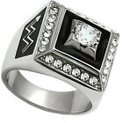 Mens 1.10ct Clear Round Stone Silver Stainless Steel Count Ring