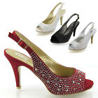 LADIES SATIN DIAMANTE WOMENS MID HEEL PLATFORM BRIDAL WEDDING PROM PARTY SHOES