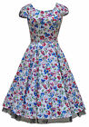 Classic 1940's WW2 Vintage Style Wild Flowers Damask Cotton Tea Dress New 8-18