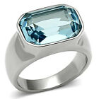 Aqua Marine Crystal Stone Silver Stainless Steel Ladies Ring