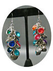 NEW (6279) Diamante Stone Cluster Chandelier Hanging Earrings Multi Colour