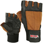 Weight Lifting Gloves Gym Fitness Training Glove Long Wrist Strap Black / Brown