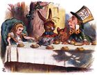 Vintage Alice In Wonderland Tea Party Quilting Fabric Block