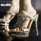 Womens Elegant Open Toe Diamante Stiletto Heel Platform Slipper Sandal Shoes #06