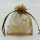 Gold Butterfly Brown Organza Wedding Favour Gift Bags Pouches 7x9,9x12,13x17cm
