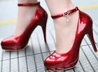 Ladies Womens Sexy Fashion  Patent Ankle Strap High Heel Pumps Court Shoes #70-3