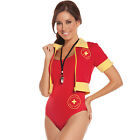 Beach Patrol Lifeguard Water Rescue Costume Adult Baywatch Red Swimsuit 9610