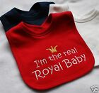 I'm the real royal baby, design bib, Funny Gift, Embroidered Crown Design