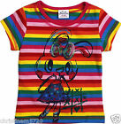 GIRLS BRIGHT STRIPE SPARKLE BUNNY T-SHIRT 18-24,2-3,3-4,4-5,5-6 NEXT DAY POST